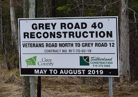 Grey Road 40 construction sign270
