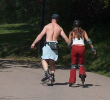 roller blading couple